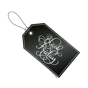 Testo di vettore dell'iscrizione di calligrafia di venerdì nero sull'etichetta.