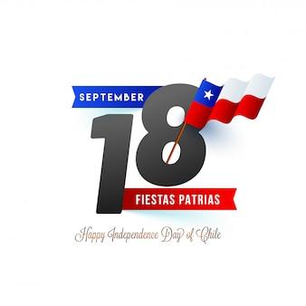 Testo elegante 18 settembre e bandiera sventolante