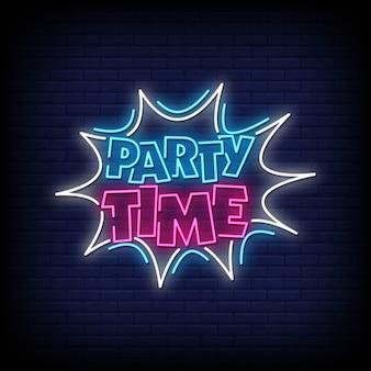 Testo in stile insegne al neon di party time