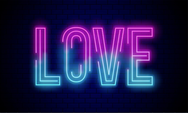 Testo incandescente amore sul muro di mattoni blu.