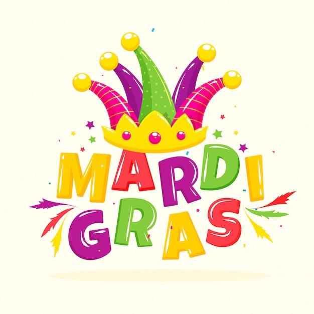 Testo mardi gras colorato lucido con cappello da giullare, stelle e piume decorato su bianco.