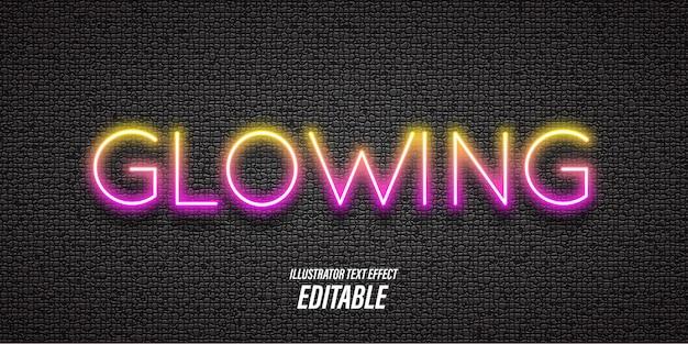 Testo modificabile con effetti di luce al neon e 3d
