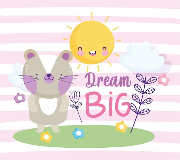 Testo sveglio del fumetto animale della nuvola del sole dei fiori del piccolo gatto