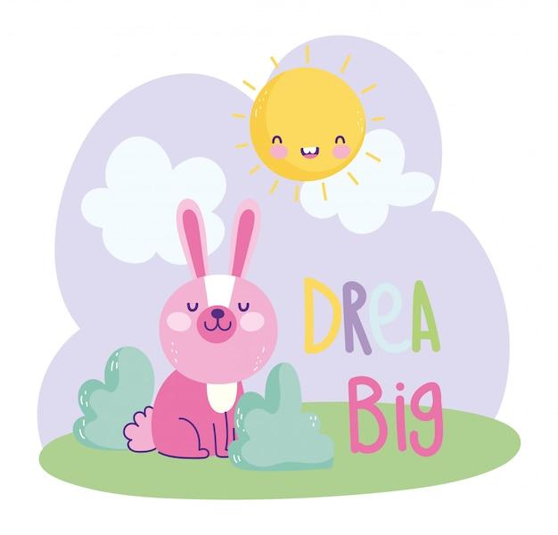 Testo sveglio del fumetto delle nuvole di seduta del sole dell'erba del piccolo coniglio