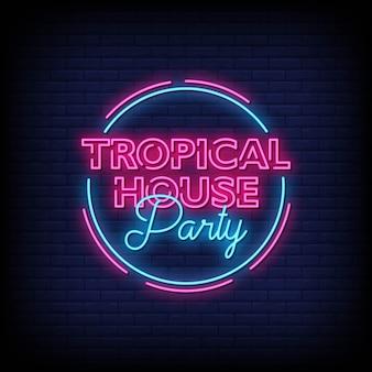 Testo tropicale di stile delle insegne al neon della festa in casa