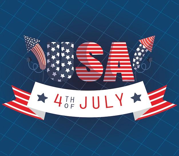 Testo usa con fuochi d'artificio e design del nastro del 4 luglio