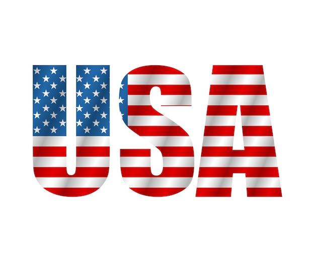 Testo usa in stile bandiera. bandiera americana isolato su sfondo bianco. illustrazione vettoriale