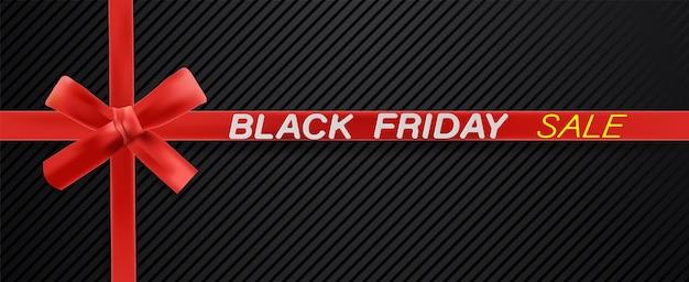 Testo venerdì nero su nastro rosso con trama nera