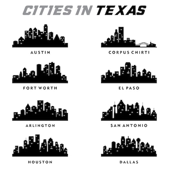 Texas cities silhouette