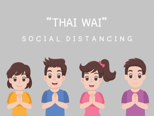 Thai wai, social distancing, persone che mantengono le distanze per il rischio di infezione e malattia