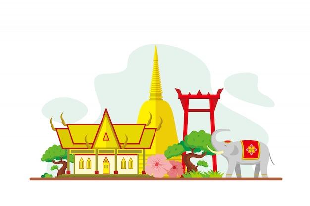 Thailandia famosi punti di riferimento sullo sfondo