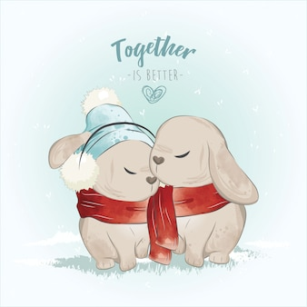 The couple bunny in the christmas