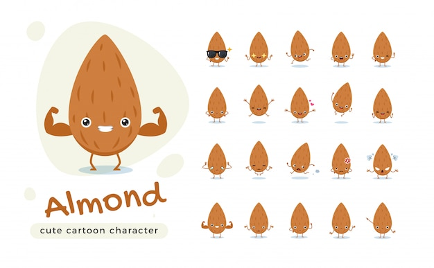 The cute brown almond. illustrazione isolata