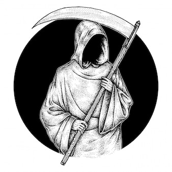 The grim reaper, pointillism