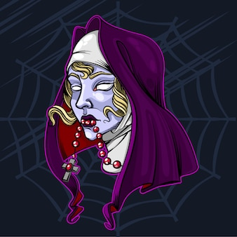 The nun zombie halloween vector illustration