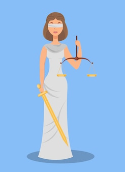 Themis, blind justice flat vector illustration