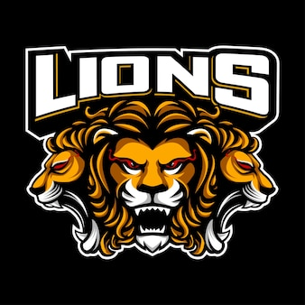 Three head lions