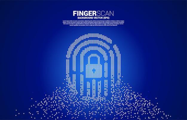 Thumbprint vettoriale con centro lucchetto dalla trasformazione dei pixel. concetto di tecnologia di scansione delle dita e accesso alla privacy.