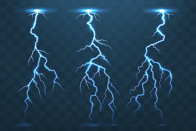 Thunder bolt and lightnings, thunderstorm electricity flash