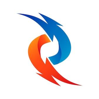 Thunder logo astratto