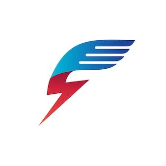 Thunder wing logo vector