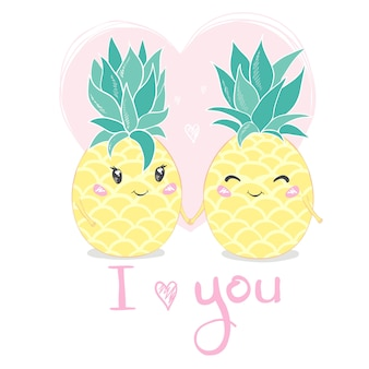Ti amo. ananas, simpatico personaggio per il tuo design