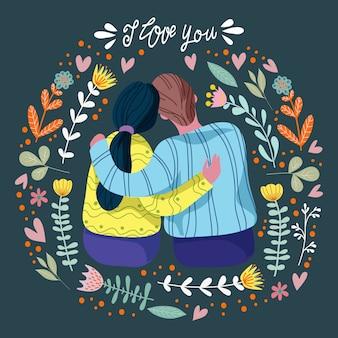 Ti amo, coppia di innamorati tra brillanti foglie floreali con scritte a mano, moderno vettore piatto
