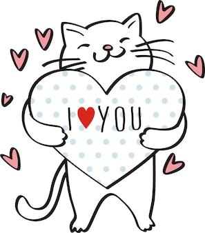 Ti amo, illustrazione vettoriale gatto carino per i bambini