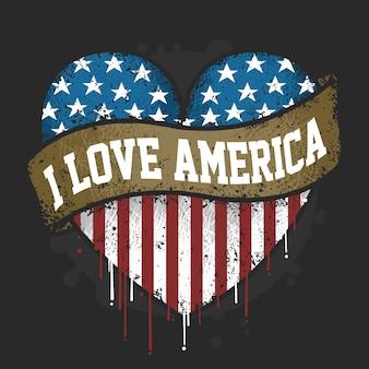 Ti amo la bandiera america usa con il vettore di grunge artwork