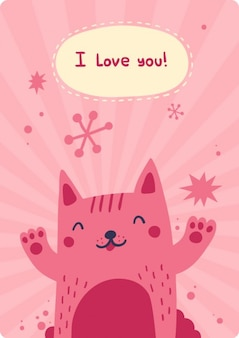 Ti amo scheda con il gatto felicità