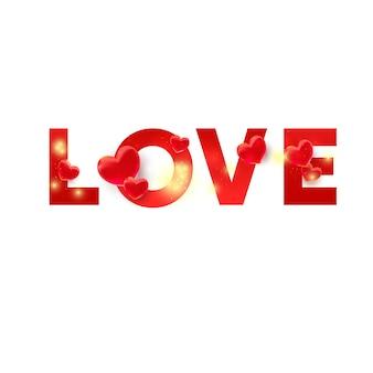 Ti amo testo di colore rosso con decorazioni a forma di cuore 3d e brillantezza glitterata