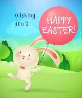 Ti auguro buona pasqua lettering, coniglietto, palloncino e paesaggio