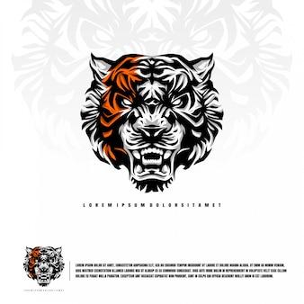 Tiger head illustration premium