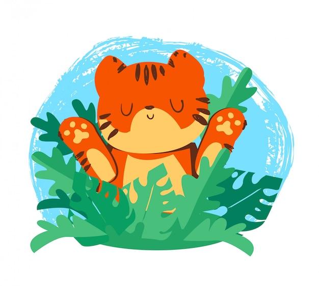 Tiger illustration sveglio disegnato a mano. illustrazione tropicale