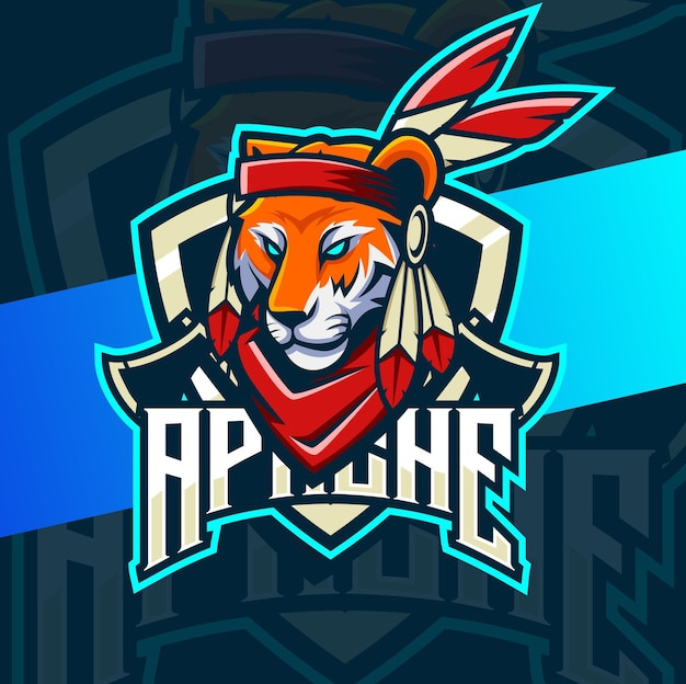 Tiger indian chief mascotte esport logo design