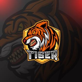 Tiger mascotte e sport logo design