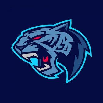 Tigre blu esport logo e illustrazione della mascotte