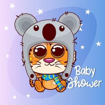 Tigre cartone animato carino per biglietto di auguri. baby shower compleanno - vector