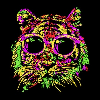 Tigre colorata astratta con gli occhiali