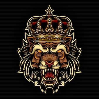 Tigre con l'illustrazione di re corona