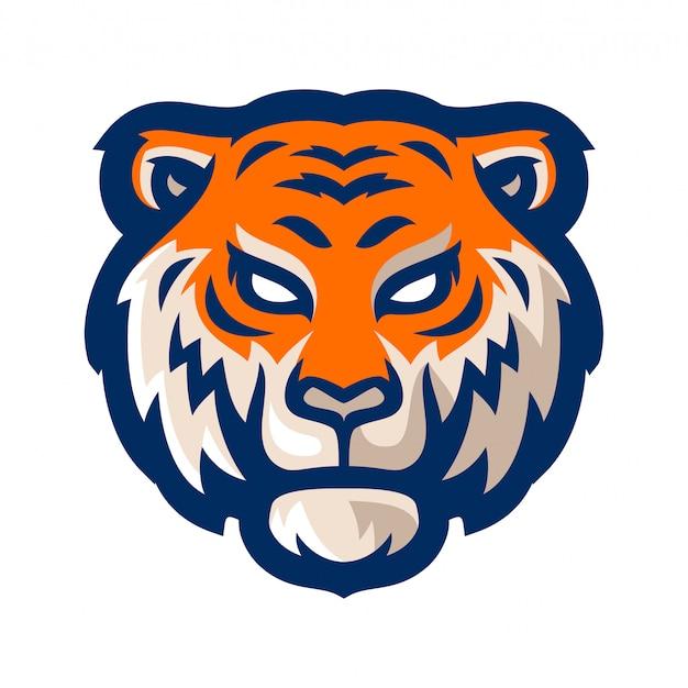 Tigre e sport logo mascotte modello illustrazione vettoriale