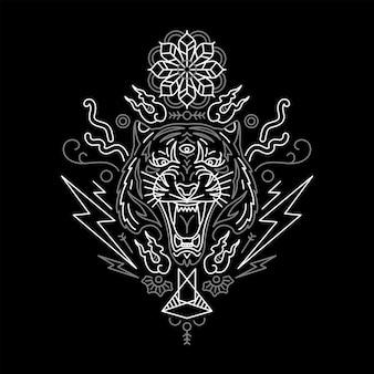 Tigre in stile minimalista. ispirato al tatuaggio.