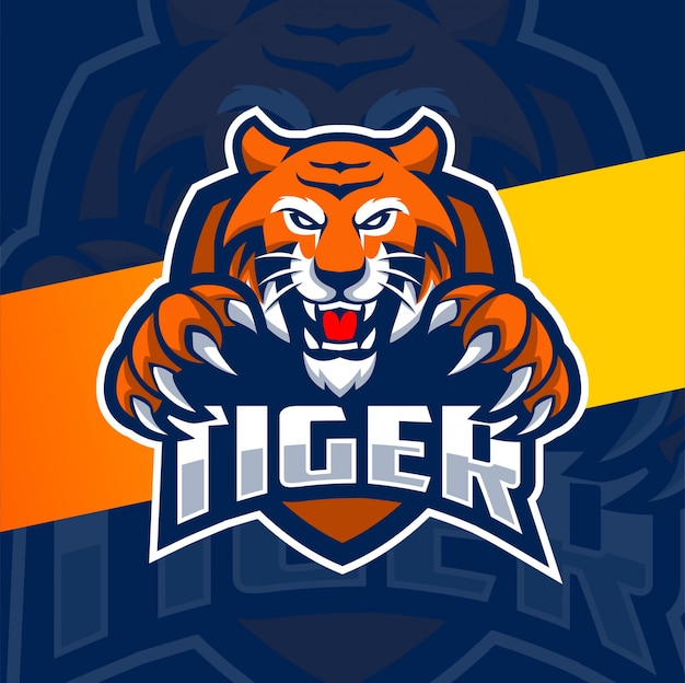 Tigre mascotte esport logo design