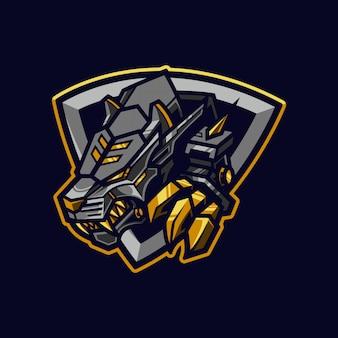 Tigre meccanica esport logo e illustrazione della mascotte