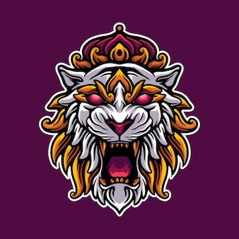 Tigre re mascotte logo illustrazione