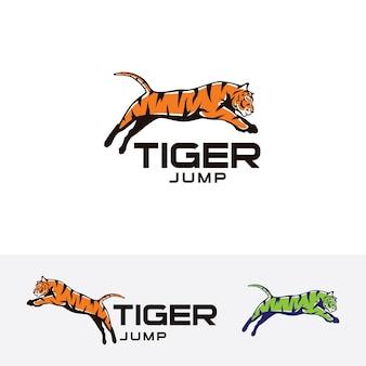 Tigre saltare modello di logo vettoriale
