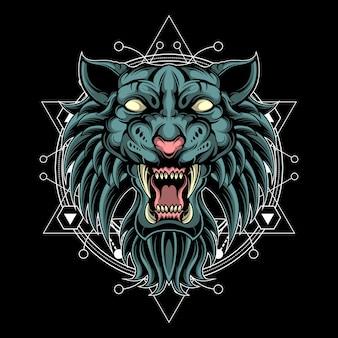 Tigre selvaggia fantasia geometria sacra