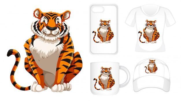 Tigre su diversi prodotti