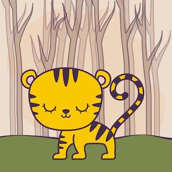 Tigre sveglia nella scena della foresta
