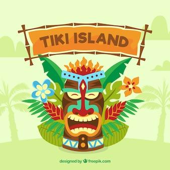 Tiki maschera sfondo con foglie di palma